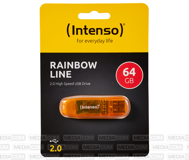 USB 2.0 Stick 64GB, Rainbow Line, orange