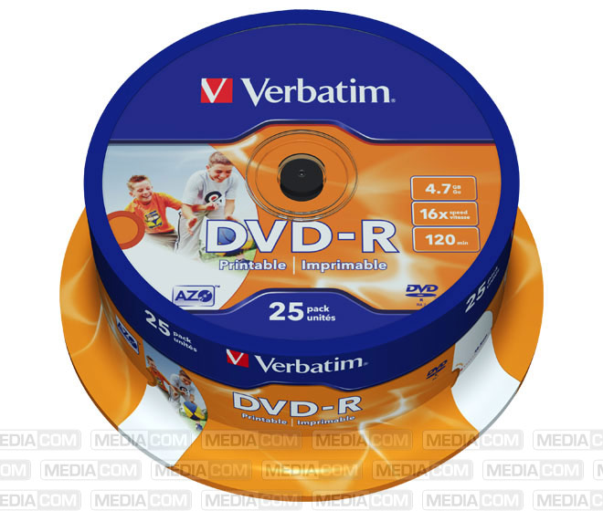 DVD-R 4.7GB/120Min/16x Cakebox (25 Disc)