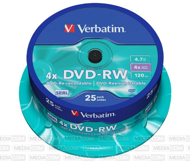 DVD-RW 4.7GB/120Min/4x Cakebox (25 Disc)