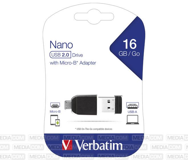 USB 2.0 OTG Stick 16GB, Micro-B Adapter, Nano