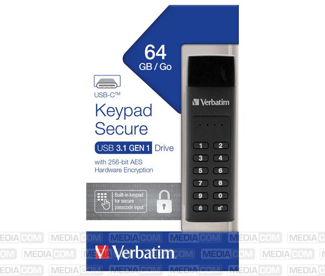 USB 3.1 Stick 64GB, Typ C, Secure, Keypad