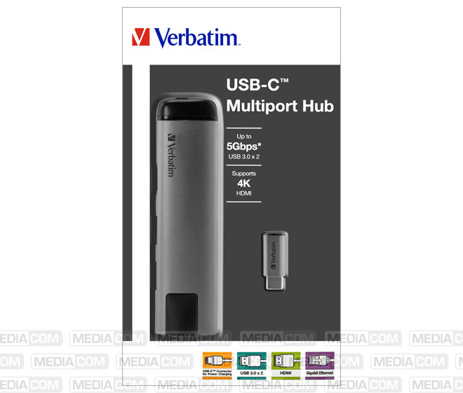 Hub, USB 3.1-C, Slimline, 2x USB 3.0, HDMI 4K, RJ45