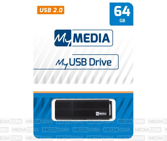 USB 2.0 Stick 64GB, schwarz
