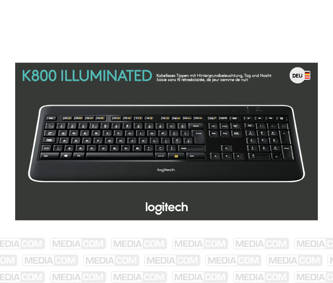Tastatur K800, Wireless, Unifying, schwarz