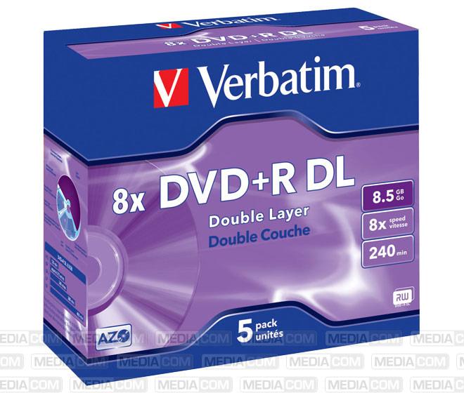 DVD+R DL 8.5GB/240Min/8x Jewelcase (5 Disc)