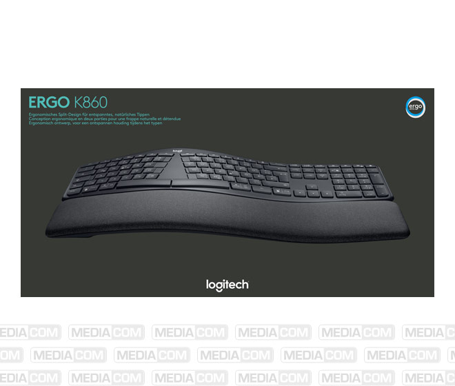 Tastatur K860, Wireless, Unifying, Bluetooth, schwarz
