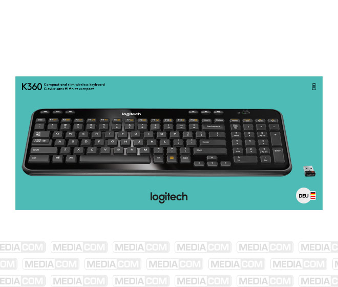 Tastatur K360, Wireless, Unifying, schwarz