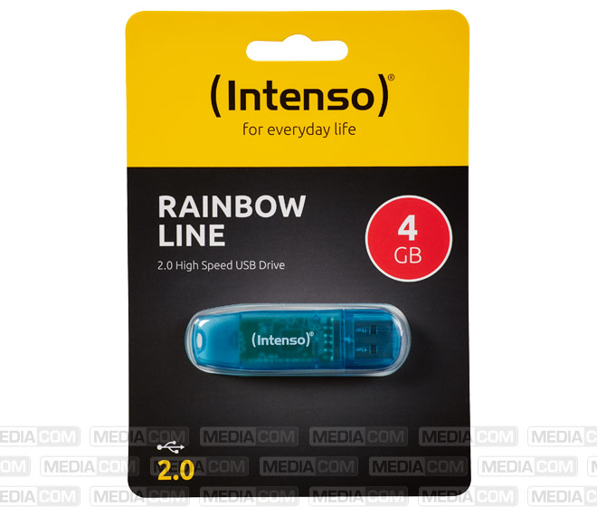 USB 2.0 Stick  4GB, Rainbow Line, blau