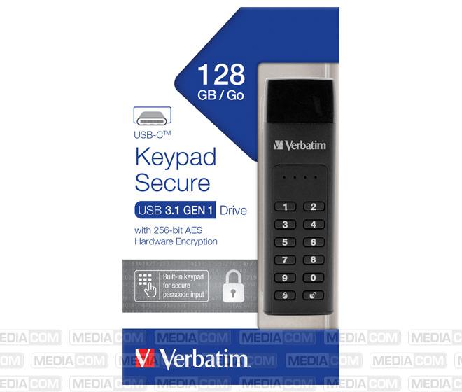 USB 3.1 Stick 128GB, Typ C, Secure, Keypad