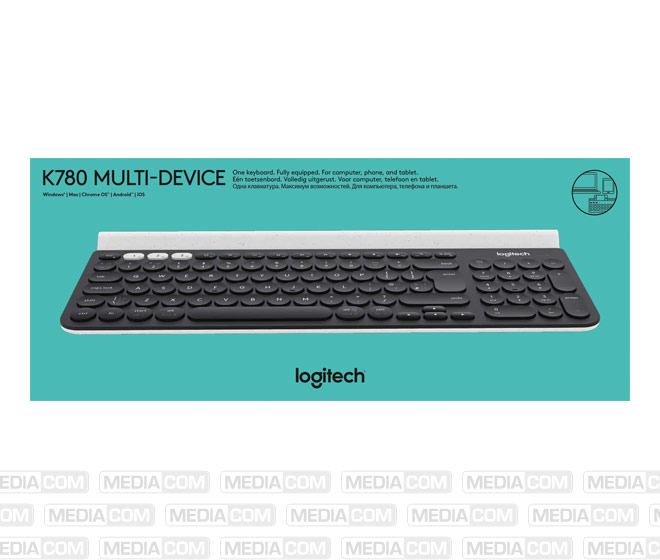 Tastatur K780, Wireless, Unifying, Bluetooth, schwarz