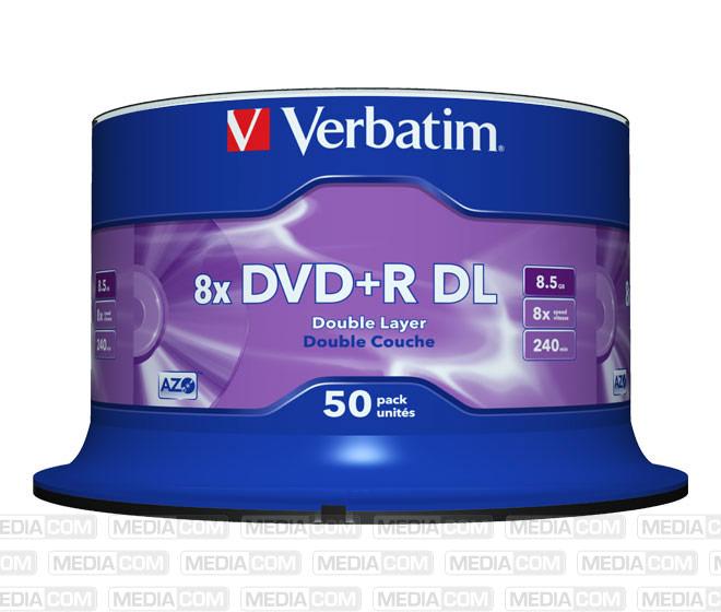 DVD+R DL 8.5GB/240Min/8x Cakebox (50 Disc)