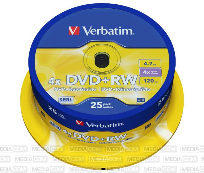 DVD+RW 4.7GB/120Min/4x Cakebox (25 Disc)
