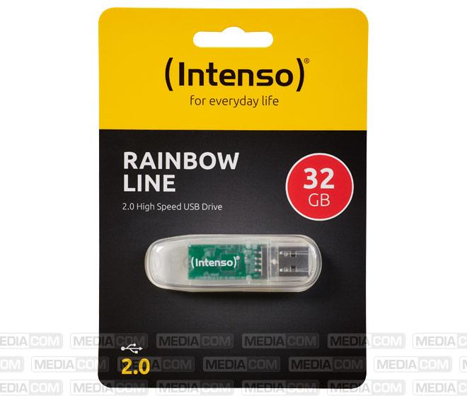 USB 2.0 Stick 32GB, Rainbow Line, transparent