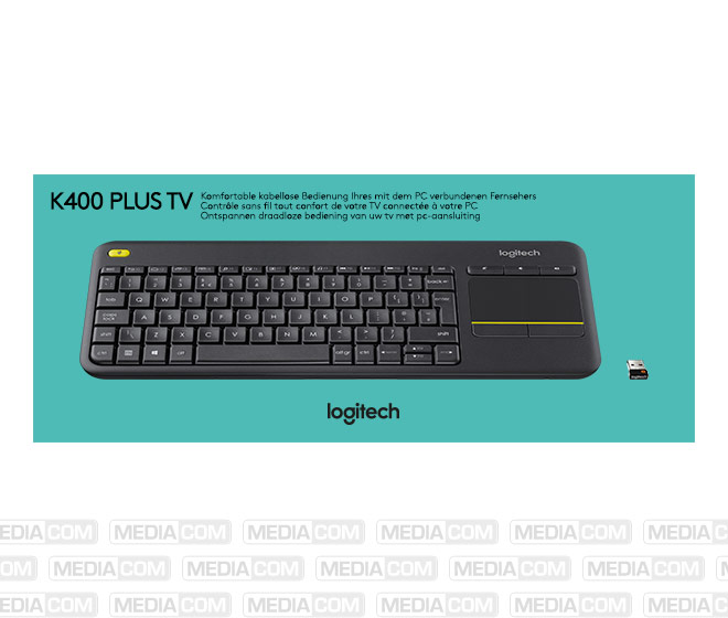 Tastatur K400, Wireless, Unifying, schwarz