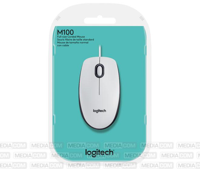 Maus M100, USB, Optisch, weiss