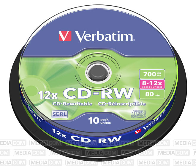 CD-RW 80Min/700MB/8-12x Cakebox  (10 Disc)