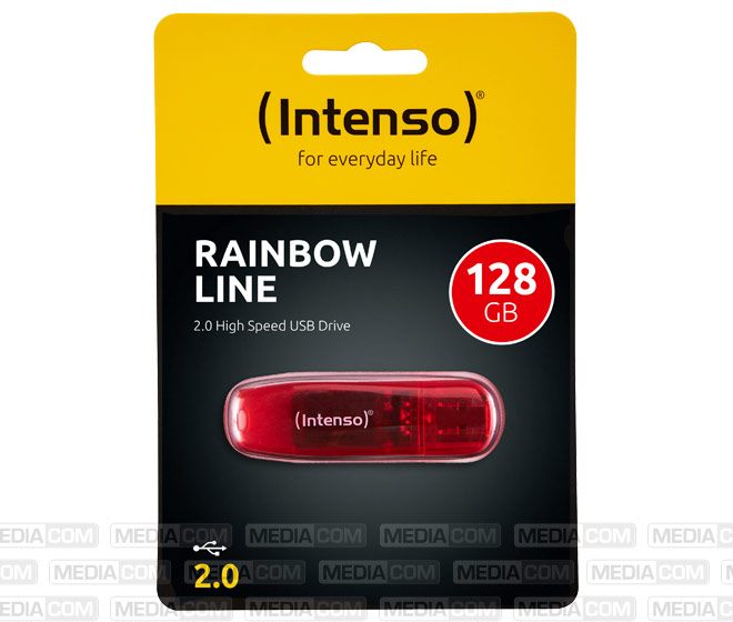 USB 2.0 Stick 128GB, Rainbow Line, rot