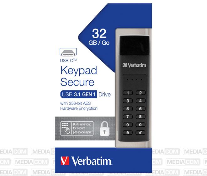 USB 3.1 Stick 32GB, Typ C, Secure, Keypad