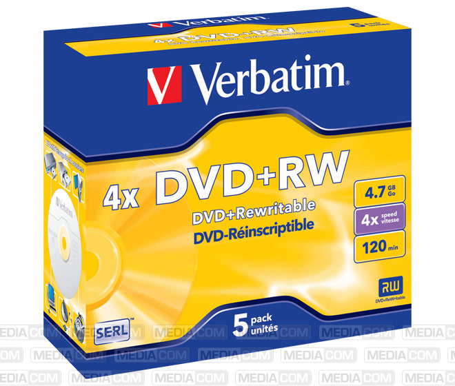 DVD+RW 4.7GB/120Min/4x Jewelcase (5 Disc)