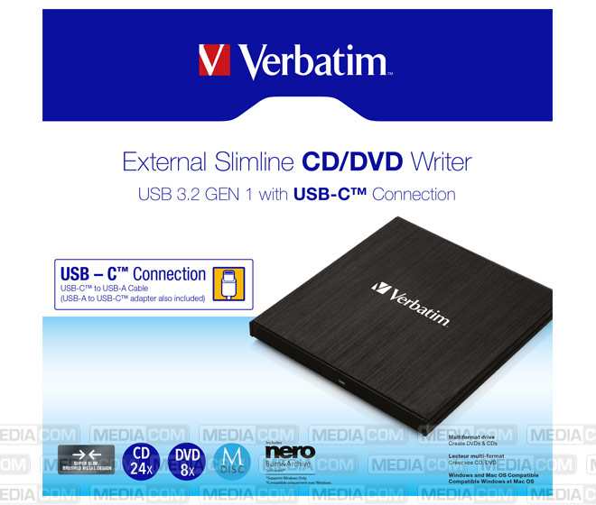 DVD Recorder, USB 3.2, A-C, 8x/6x/24x, Slimline