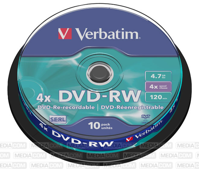 DVD-RW 4.7GB/120Min/4x Cakebox (10 Disc)