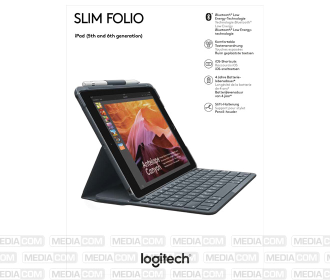 Tastatur Slim Folio, Bluetooth, schwarz